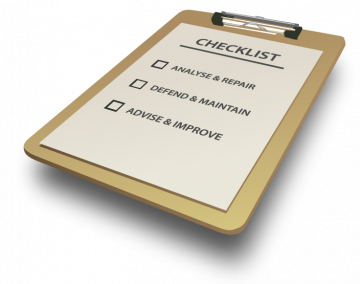 Wordpress repair, maintain checklist clipboard